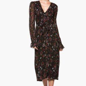 Paige Black Floral Sheer Long Sleeve Midi Dress S